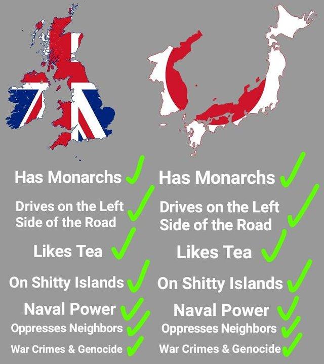 そういえば日本と英国って似てね?←君は韓国人とアイルランド人を敵に回してしまったようだ‥